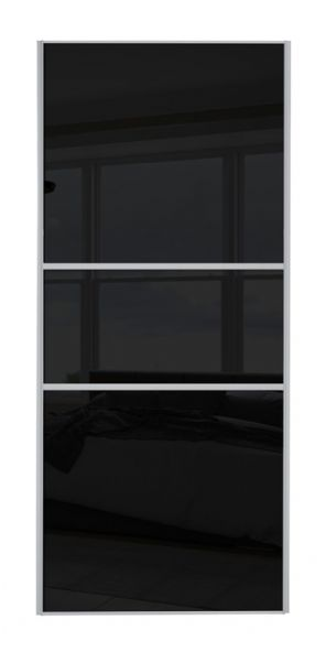 Classic Fineline, Silver frame/Black glass door